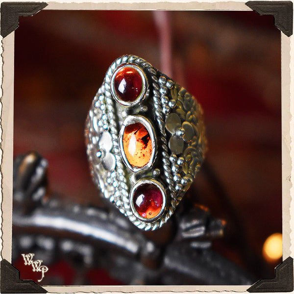 LIMITED EDITION : TRIPLE RED GARNET RING w/ FLOWER. For Protection & Witchcraft. Sterling Silver.( SKU:380AB )