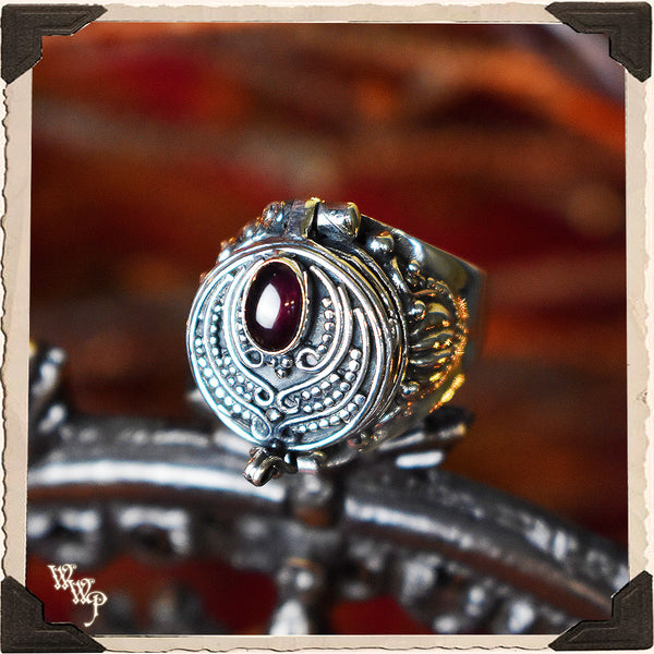 LIMITED EDITION : RED GARNET POISON RING. For Protection & Witchcraft. Sterling Silver.( SKU:411A )