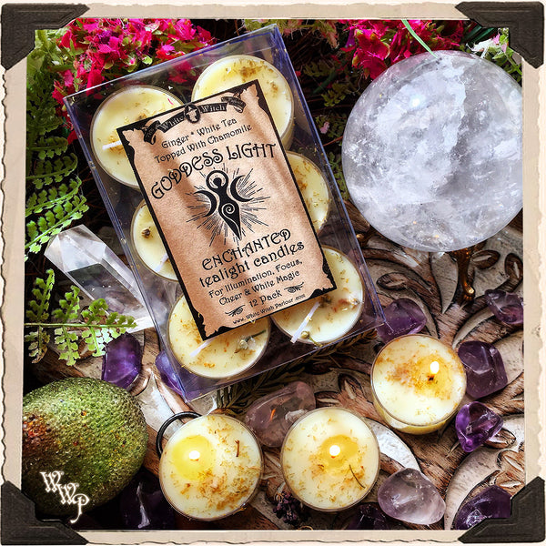 GODDESS LIGHT TEALIGHT CANDLES. 12 Pack. For Illumination, Focus, Cheer & White Magick.