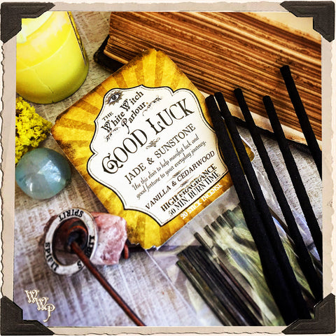 GOOD LUCK Elixir INCENSE. 20 Stick Pack. Scent of Vanilla & Cedar Wood. Blessed by Sunstone & Jade Crystals.