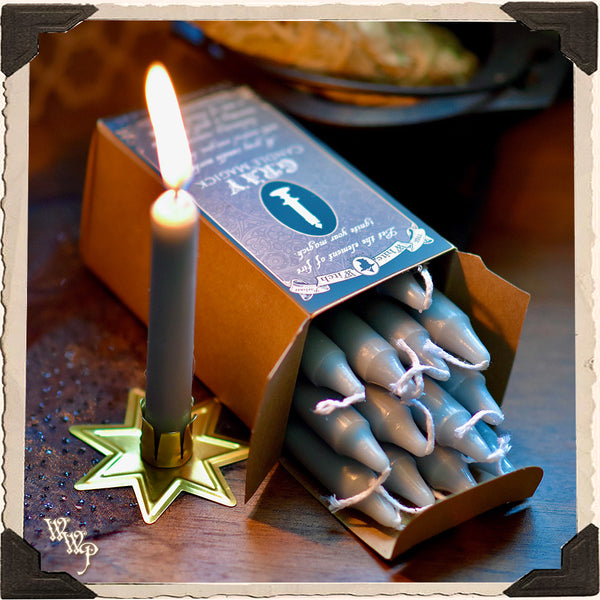GRAY SPELL CANDLES. 13 Pack - Unscented. For Neutral Energy & Banishing Magic.