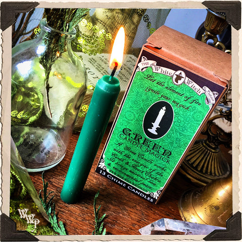 GREEN SPELL CANDLES. 13 Pack - Unscented. Mini Taper Candle Magick for Earth Element & Heart.