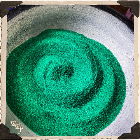 GREEN RITUAL SAND. 4oz. For Incense Burners & Altar Decor.