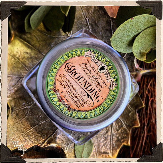 GROUNDING 1/2oz. SOLID PERFUME. All Natural Anointing Balm. Lemongrass, Ginger, Eucalyptus, Rosemary. Blessed with Green Aventurine Crystal for Centering Energy.