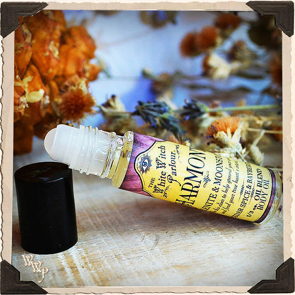 HARMONY Elixir 1/3oz. BODY OIL Rollon. Scent of Cedar, Spice & Bayberry. Blessed by Selenite & Moonstone Crystals.