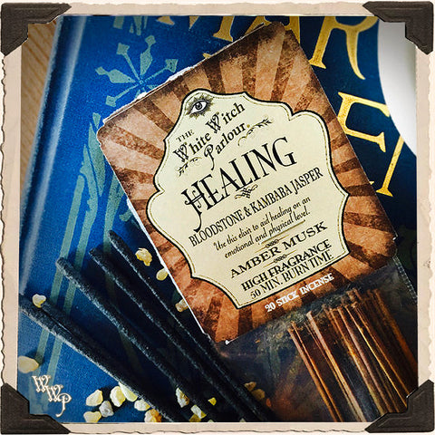 HEALING Elixir INCENSE. 20 Stick Pack. Scent of Amber & Musk. Blessed by Bloodstone & Kambaba Jasper Crystals.