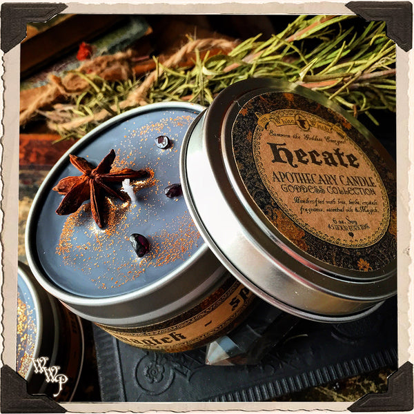 HECATE GODDESS CANDLE. 6 oz. For Mystery, Magick, Spirits, Witchcraft, Night.