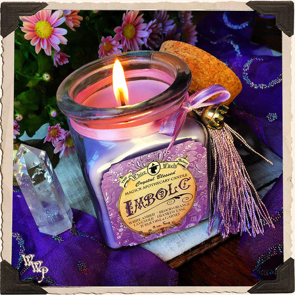 IMBOLC APOTHECARY CANDLE 8oz. Mid-Winter. Scent of Blood Orange, Lavender, Amber & Frankincense. Blessed by Garnet & Turquoise.