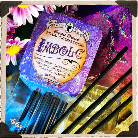 IMBOLC INCENSE. 20 Stick Pack. Mid-Winter. Scent of Blood Orange, Lavender, Amber & Frankincense. Blessed by Garnet & Turquoise.