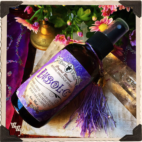 IMBOLC 4oz. Alchemy RITUAL SMUDGE SPRAY. Mid-Winter. Scent of Blood Orange, Lavender, Amber & Frankincense. Blessed by Garnet & Turquoise.