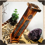 BOTANICAL INCENSE BURNER TOWER. Upright Wooden Box with Metal Stampings. Incense Stick & Cone Holder.