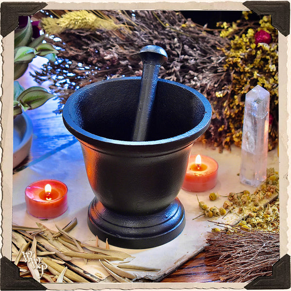 BLACK IRON PESTLE & MORTAR. Heavy Duty Witch's botanical grinder for Incense, resins & herbs.