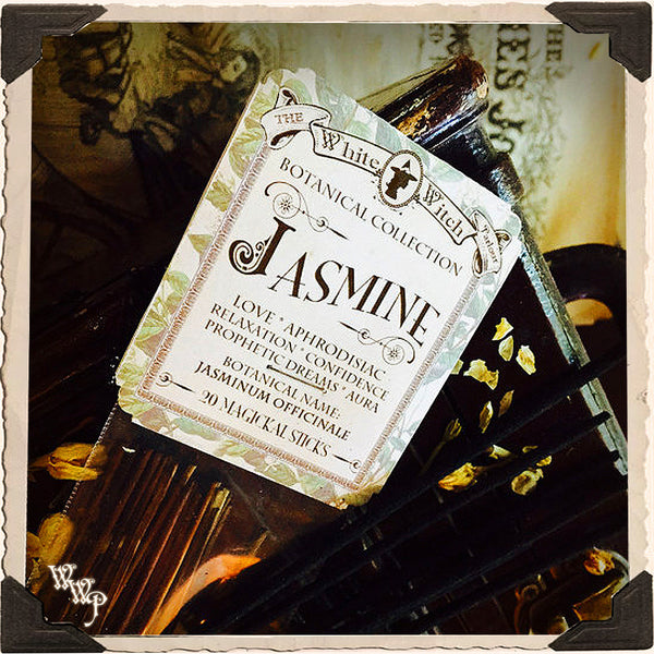 JASMINE INCENSE. 20 Stick Pack. Single-Note Botanical Floral Scent, Blessed by Clear Quartz Crystal.