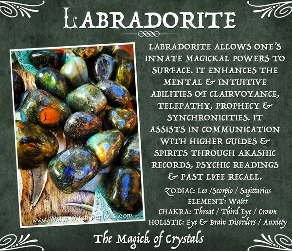 LABRADORITE TUMBLED CRYSTAL. For Spiritual Strength & Psychic Enhancement.