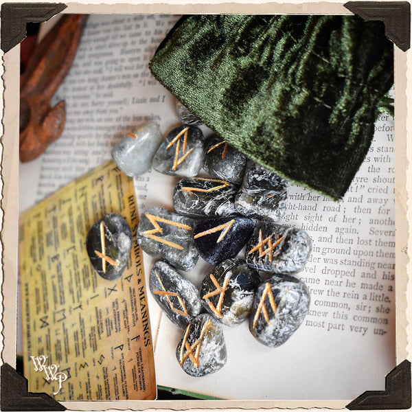 LABRADORITE CRYSTAL MAGICK RUNE SET. For Divination & Fortune Telling
