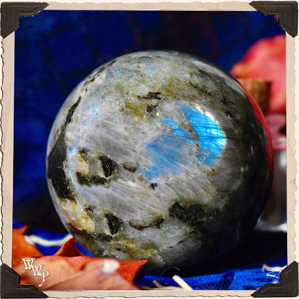 LABRADORITE CRYSTAL SPHERE. For Moon Healing, Spiritual Strength & Psychic Enhancement.