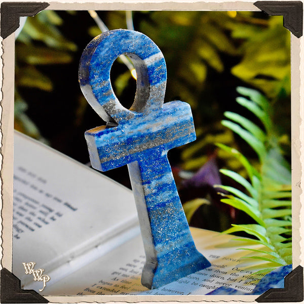 LAPIS LAZULI ANKH. Gemstone Carving Altar Statue. For Cosmic Awareness & Spiritual Awakenings