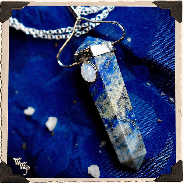 LAPIS LAZULI MOONSTONE PENDANT NECKLACE. For Cosmic Awareness & Spiritual Awakening