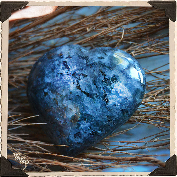 LARVIKITE CRYSTAL HEART. For Meditation, Spiritual Connections & Earthly Healing.