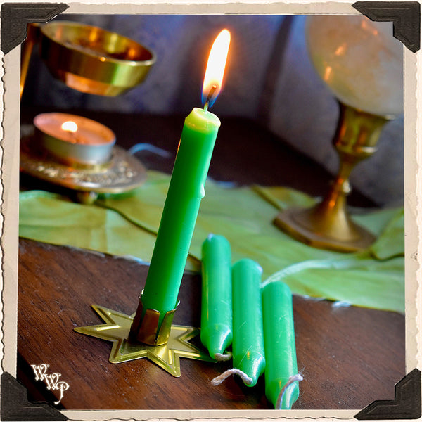 LIGHT GREEN SPELL CANDLES. 13 Pack - Unscented. Mini Taper Candle Magick for Abundance & Heart.