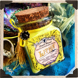 LITHA APOTHECARY CANDLE 8oz. Summer Solstice. Scent of Wisteria, Lemon, Chamomile, Carnation & Orange. Blessed by Citrine & Aquamarine Crystals.
