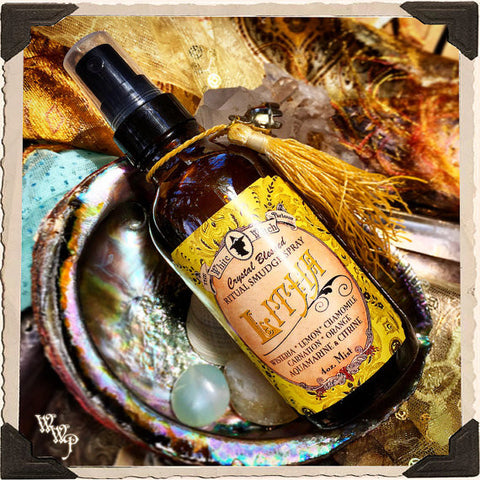 LITHA 4oz. Alchemy RITUAL SMUDGE SPRAY. Summer Solstice. Scent of Wisteria, Lemon, Chamomile, Carnation & Orange. Blessed by Citrine & Aquamarine Crystals.
