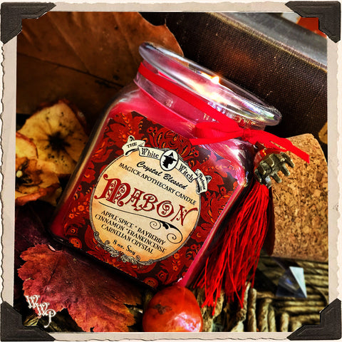 MABON APOTHECARY CANDLE 8oz. Autumn Equinox. Scent of Apple Spice, Cinnamon, Bayberry & Frankincense. Blessed by Carnelian Crystal.