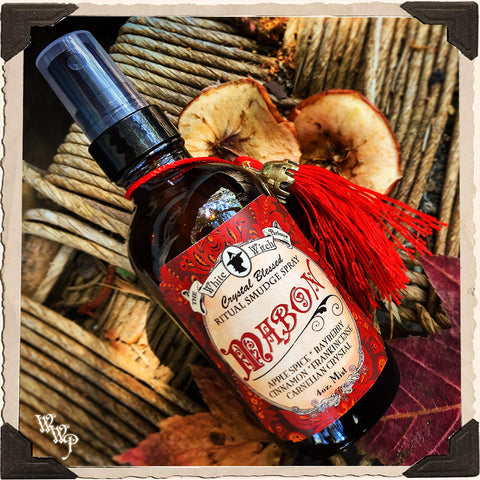 MABON 4oz. Alchemy RITUAL SMUDGE SPRAY. Autumn Equinox. Scent of Apple Spice, Cinnamon, Bayberry & Frankincense. Blessed by Carnelian Crystal.