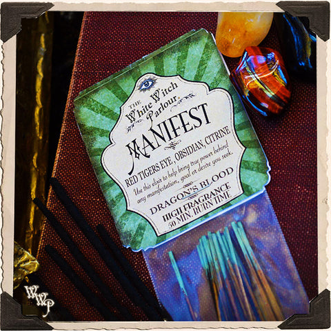 MANIFEST Elixir INCENSE. 20 Stick Pack. Scent of Dragon's Blood. Blessed by Red Tiger's Eye, Citrine & Obsidian Crystals.