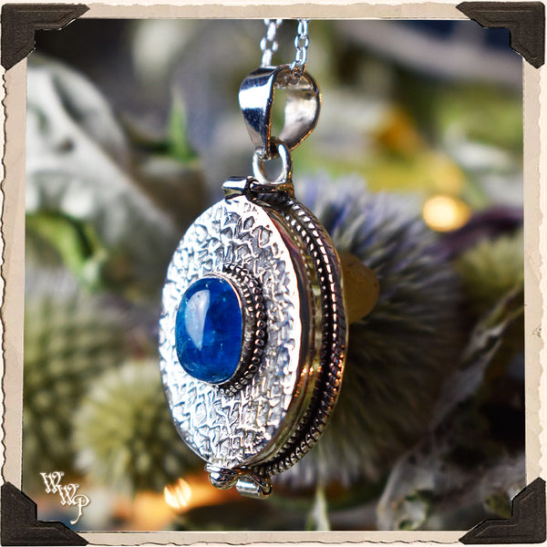 LIMITED EDITION : BLUE APATITE OVAL LOCKET NECKLACE. For Speaking Your Truth & Manifestation. Sterling Silver (SKU: MB33BA)