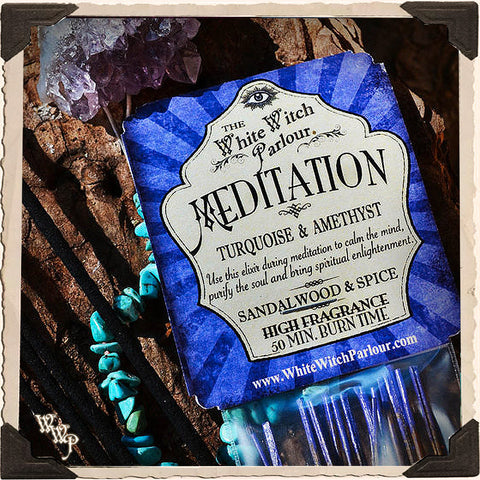 MEDITATION Elixir INCENSE. 20 Stick Pack. Sandalwood & Spice Blessed with Amethyst & Turquoise Crystals.