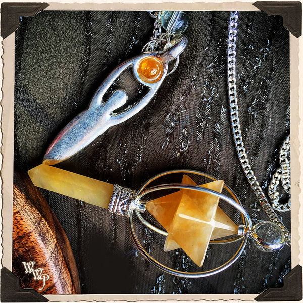 MERKABA CRYSTAL GODDESS PENDULUM with Silver Chain. For Divination & Scrying