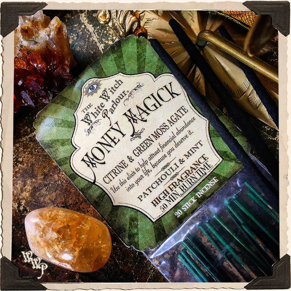 MONEY MAGICK Elixir INCENSE. 20 Stick Pack. Scent of Patchouli & Mint. Blessed by Citrine & Green Moss Agate Crystals.