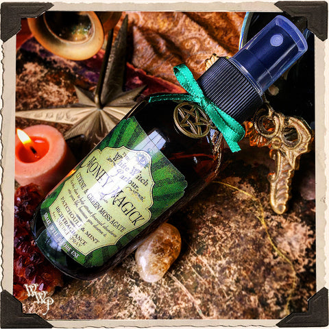 MONEY MAGICK Elixir 4oz. SMUDGE SPRAY. Scent of Patchouli & Mint. Blessed by Citrine & Green Moss Agate Crystals.