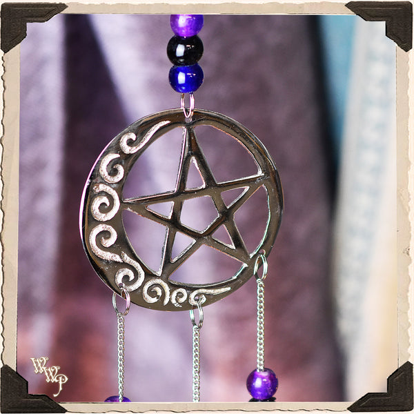 SILVER MOON PENTACLE WINDCHIME. Witch, Goddess Decor.