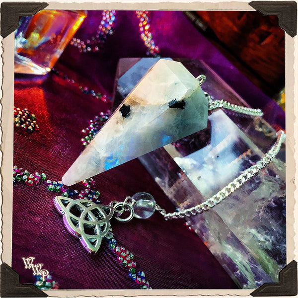RAINBOW MOONSTONE CRYSTAL PENDULUM with Triquetra Charm. For Feminine energies & Lunar Cycles