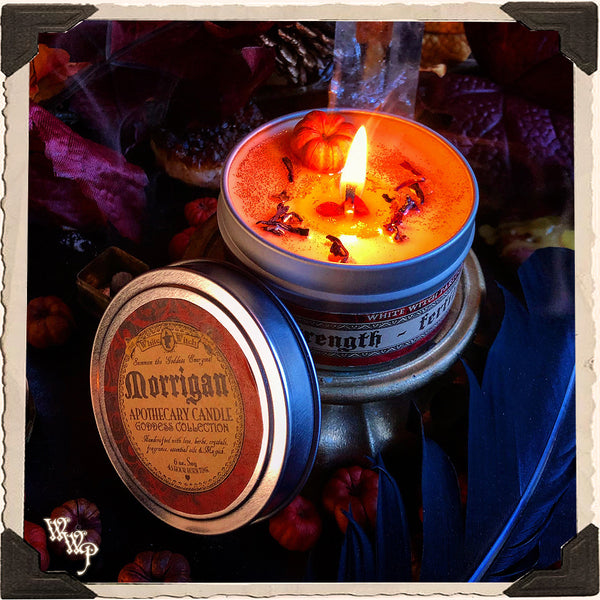 MORRIGAN GODDESS CANDLE. 6 oz. For Prophecy, Samhain & Empowerment.