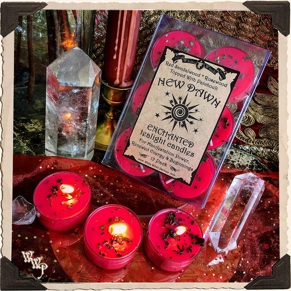 NEW DAWN TEALIGHT CANDLES. 12 Pack. For Manifestation Power, Renewed Energy & Beginnings.