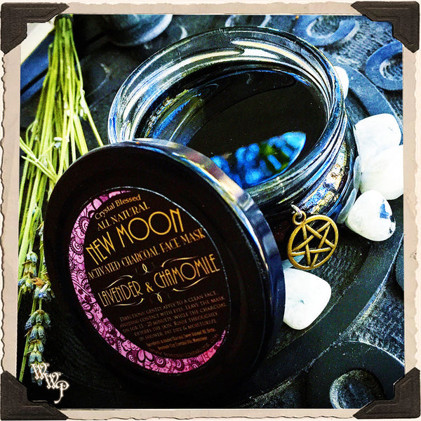 NEW MOON CHARCOAL FACE MASK. Lavender & Chamomile. All Natural 3oz. Blessed With Moonstone.