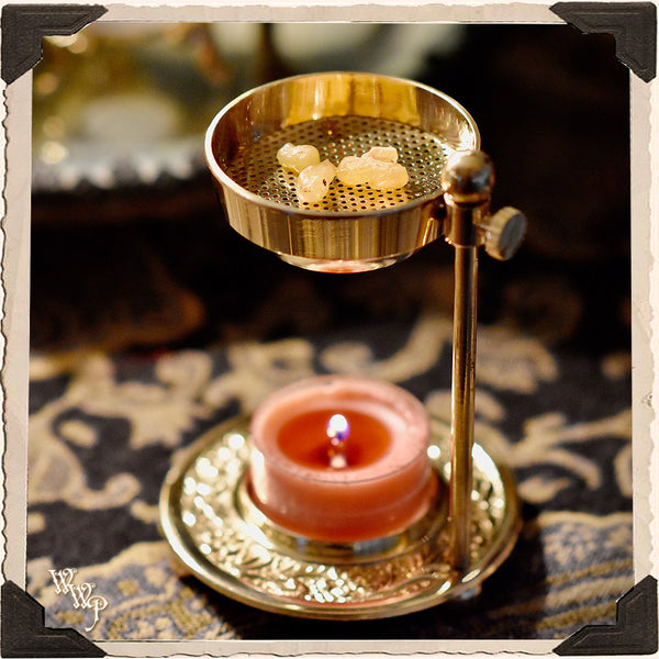 BRASS 'CHARCOAL FREE' RESIN BURNER For Natural Incense & Censer for herbs & resins.