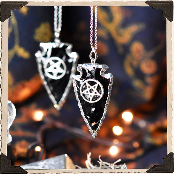 BLACK OBSIDIAN ARROWHEAD TALISMAN NECKLACE. For New Moon, Protection & Black Magic