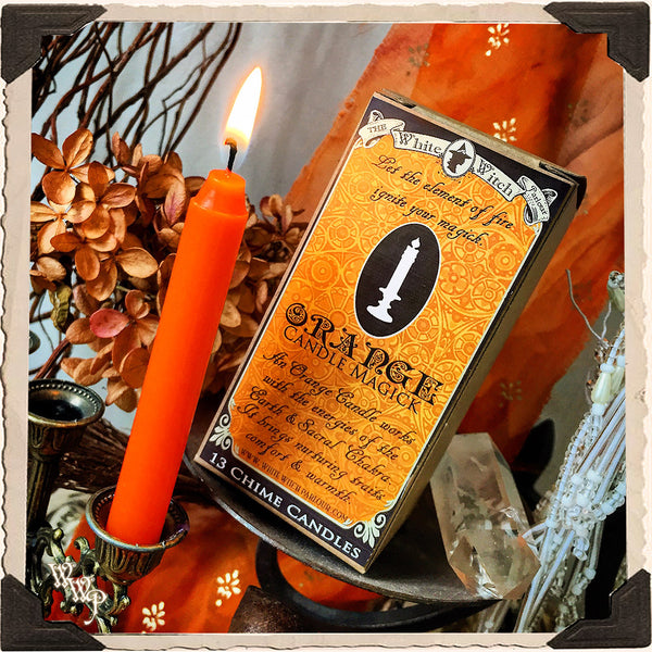 ORANGE SPELL CANDLES. 13 Pack - Unscented. Mini Taper Candle Magick for Earth, Fire Element & Sacral Chakra.