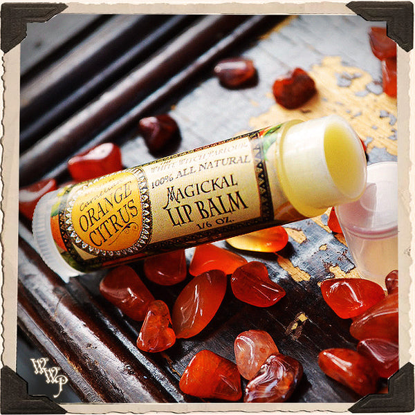 ORANGE CITRUS Lip Balm All Natural. Blessed by Carnelian Crystal.