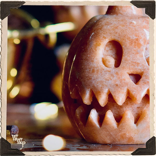 ORANGE JASPER PUMPKIN. Crystal Totem For Comforting Energy, Harvesting Positivity & Samhain.