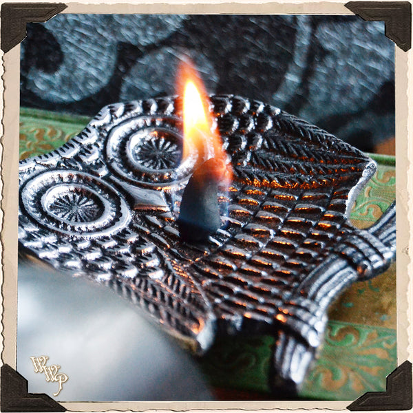 OWL INCENSE BURNER DISH. Aluminum Tray. Incense Stick & Cone Holder.
