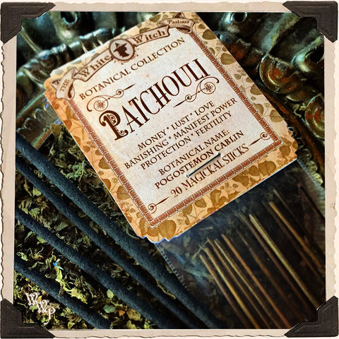 PATCHOULI INCENSE. 20 Stick Pack. Single-Note Botanical. Sweet Earth Scent, Blessed by Clear Quartz Crystal.