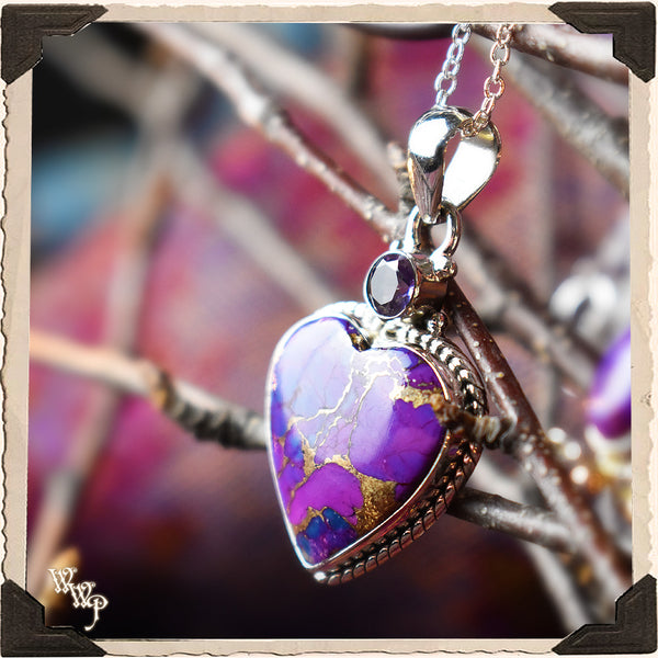 LIMITED EDITION : COPPER & PURPLE TURQUOISE HEART NECKLACE PENDANT. For Empaths & Psychic Development. Sterling Silver.( SKU:PCT55 )