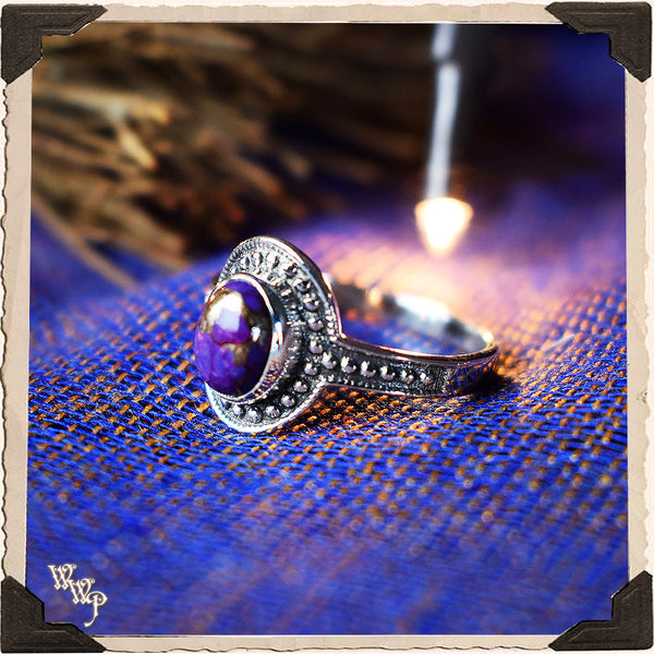 LIMITED EDITION : COPPER & PURPLE TURQUOISE OVAL RING. For Empaths & Psychic Development. Sterling Silver.( SKU:PCT88 )