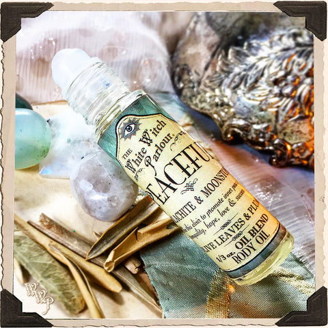 PEACEFUL Elixir 1/3oz. BODY OIL Rollon. Scent of Olive Leaves & Plum. Blessed by Malachite & Moonstone Crystals.