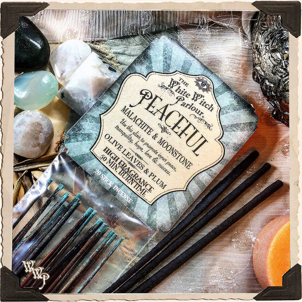 PEACEFUL Elixir INCENSE. 20 Stick Pack. Scent of Olive Leaves & Plum. Blessed by Malachite & Moonstone Crystals.